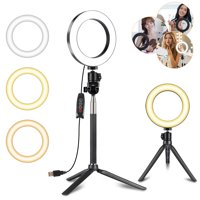 "TSV Ring Light Kit, 6.3"" Outer Dimmable LED Ring Light with 44"" Extendable Tripod Stand, Mini Led Camera Ringlight w/3-Light Color & 10 Brightness Level for YouTube, Self-Portrait Shooting, Streaming"
