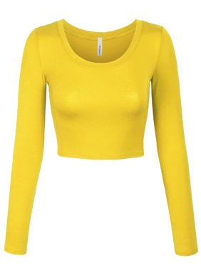 Product Image KOGMO Womens Long Sleeve Crop Top Solid Round Neck T Shirt.  Product Variants Selector. YELLOW af0a8ce056ed