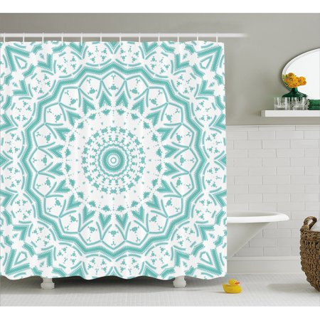 Aqua Shower Curtain, Mandala Tribal Ethnic Tie Dye Effect Floral Leaves Seem Design Image Art Print, Fabric Bathroom Set with Hooks, Sea Green White, by Ambesonne