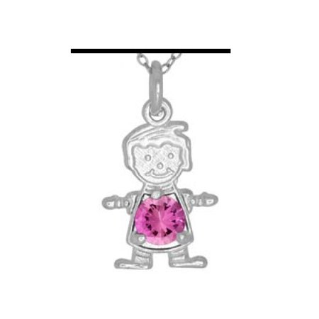 Pink Cubic Zirconia October Birthstone Boy Flat Charm Rhodium Plated Sterling Silver ()