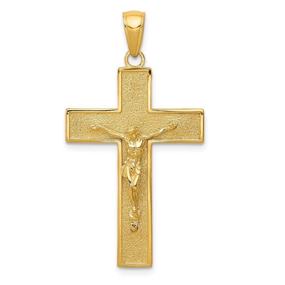 14k Yellow Gold Polished Crucifix Pendant