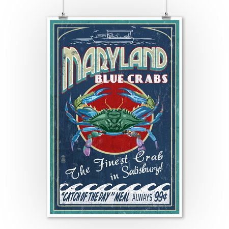 Salisbury, Maryland - Blue Crabs Vintage Sign - Lantern Press Artwork (9x12 Art Print, Wall Decor Travel Poster) - Party City Salisbury Maryland