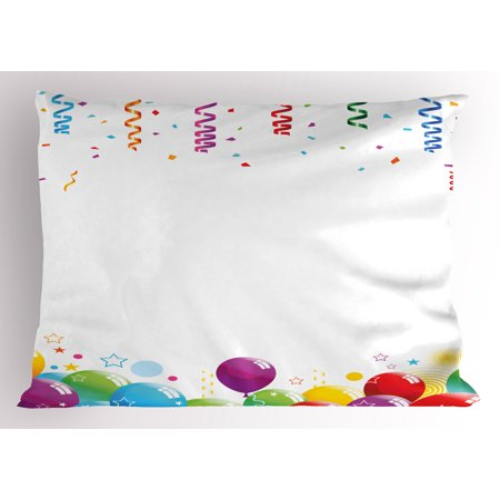 Kids Party Pillow Sham Confetti Rain with Curls and Balloons Stars Dots Joyful Happy Greeting Concept, Decorative Standard Size Printed Pillowcase, 26 X 20 Inches, Multicolor, by Ambesonne - Balloons With Confetti