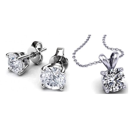 Genuine 1 Carat Natural Solitaire Round Cut Diamond 4 Prong Necklace & Studs Earring Set in 14k White Gold