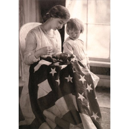 Avanti Press Young Woman Sewing American Flag America Collection Blank Note Card (Sewing Cards)
