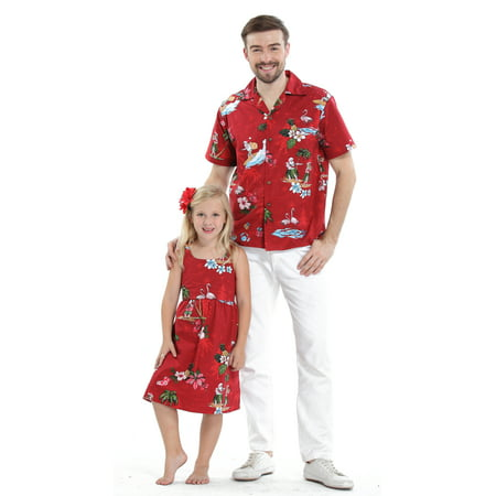 Matching Father Daughter Hawaiian Luau Outfit Christmas Men Shirt Girl Dress Red Santa Flamingo S-6M for $<!---->