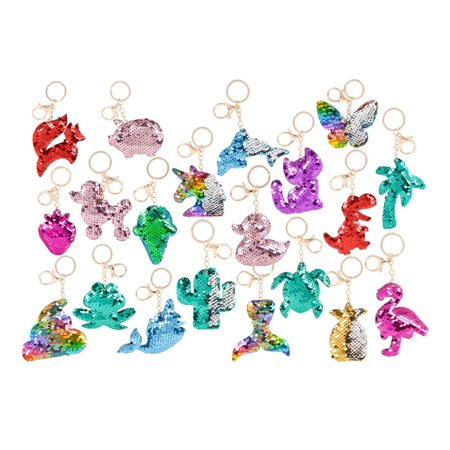 Rhode Island Novelty Rhode Island Novelty Flip Sequin Plush Colorful Magical Tropical Animal Dino Assorted Keychains (18pc Set) Fashion Accessories