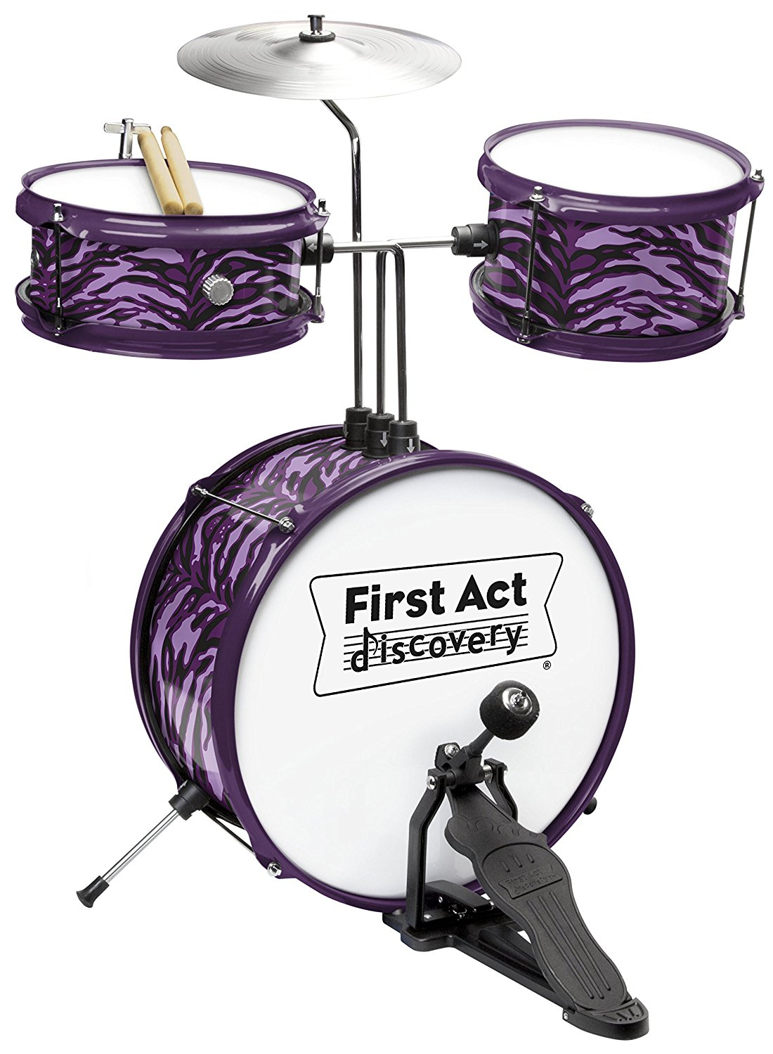 First Act Discovery Purple Zebra Designer Drum Set FD3711, Purple by FIRST ACT INC.