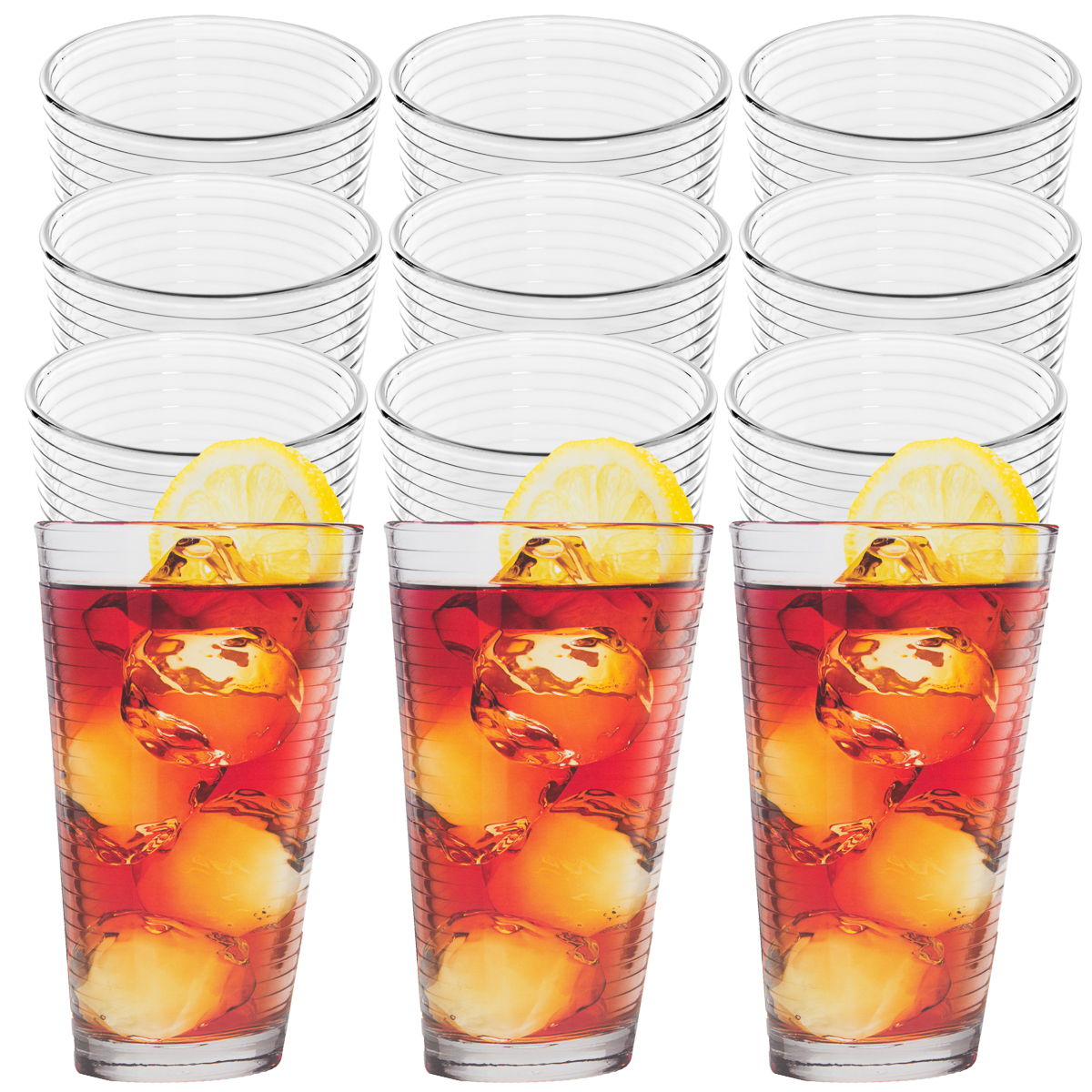 12pk Anchor Hocking 14oz Thick Drinking Glasses Set Clear Glass Beverage Tumbler