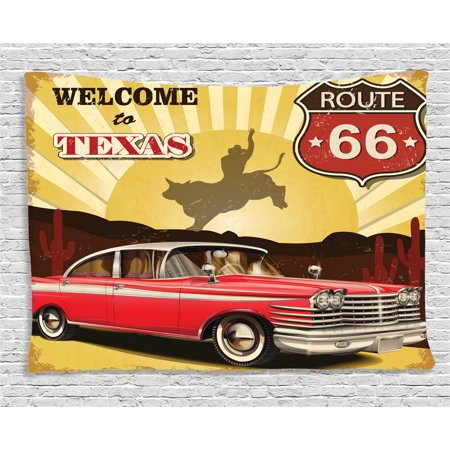 Vintage Decor Tapestry, Welcome to Texas Signboard Poster with Cadillac Art Car Cowboys Town Rodeo Decor, Wall Hanging for Bedroom Living Room Dorm Decor, 60W X 40L Inches, Multi, by Ambesonne - Cowboy Room Decor