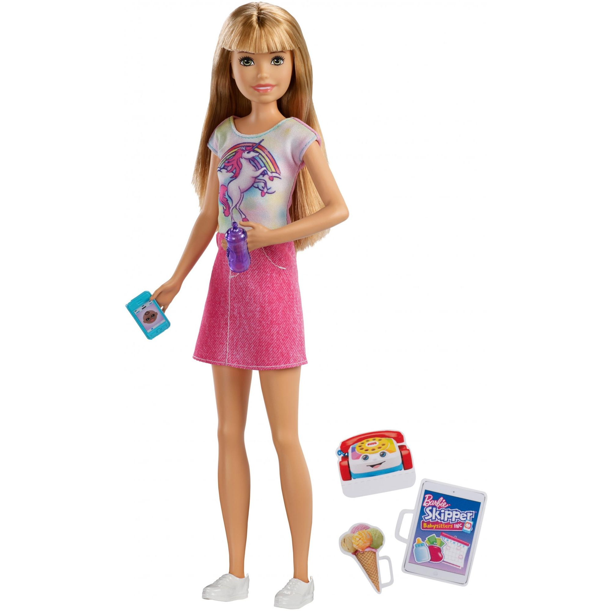 Barbie Babysitting Skipper Doll, Blonde with Phone and Baby Bottle