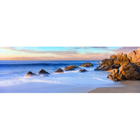 Lands End Rock (Rock formations on the beach at sunrise Lands End Cabo San Lucas Baja California Sur Mexico Poster)