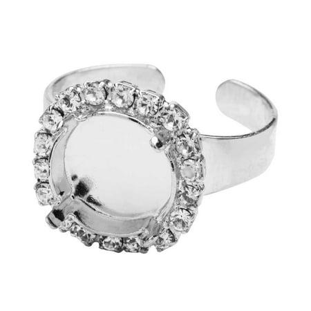 Gita Jewelry Stone Setting for Swarovski Crystal, Ring Base for 12mm Rivoli with 18 Crystals, Rhodium Plated