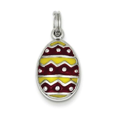 Sterling Silver Enameled Easter Egg Charm - Easter Egg Pendant