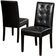 Valle Black Bonded Leather Dining Chairs (Set of 2)