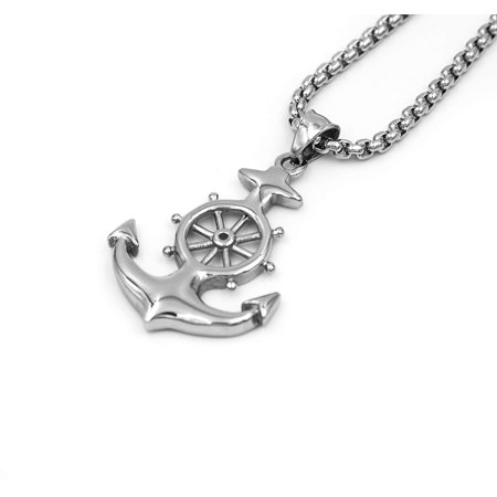 Stainless Steel Vintage Silver Nautical Marine Anchor Charm Pendant Necklace with Round Box Link Chain Mens 24