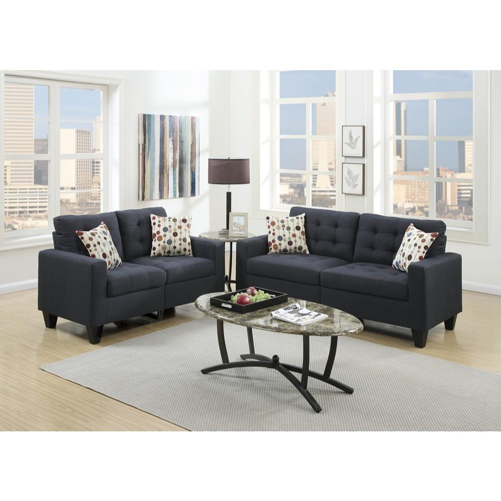 Linen Fabric 2 Pieces Sofa Set In Dark Gray