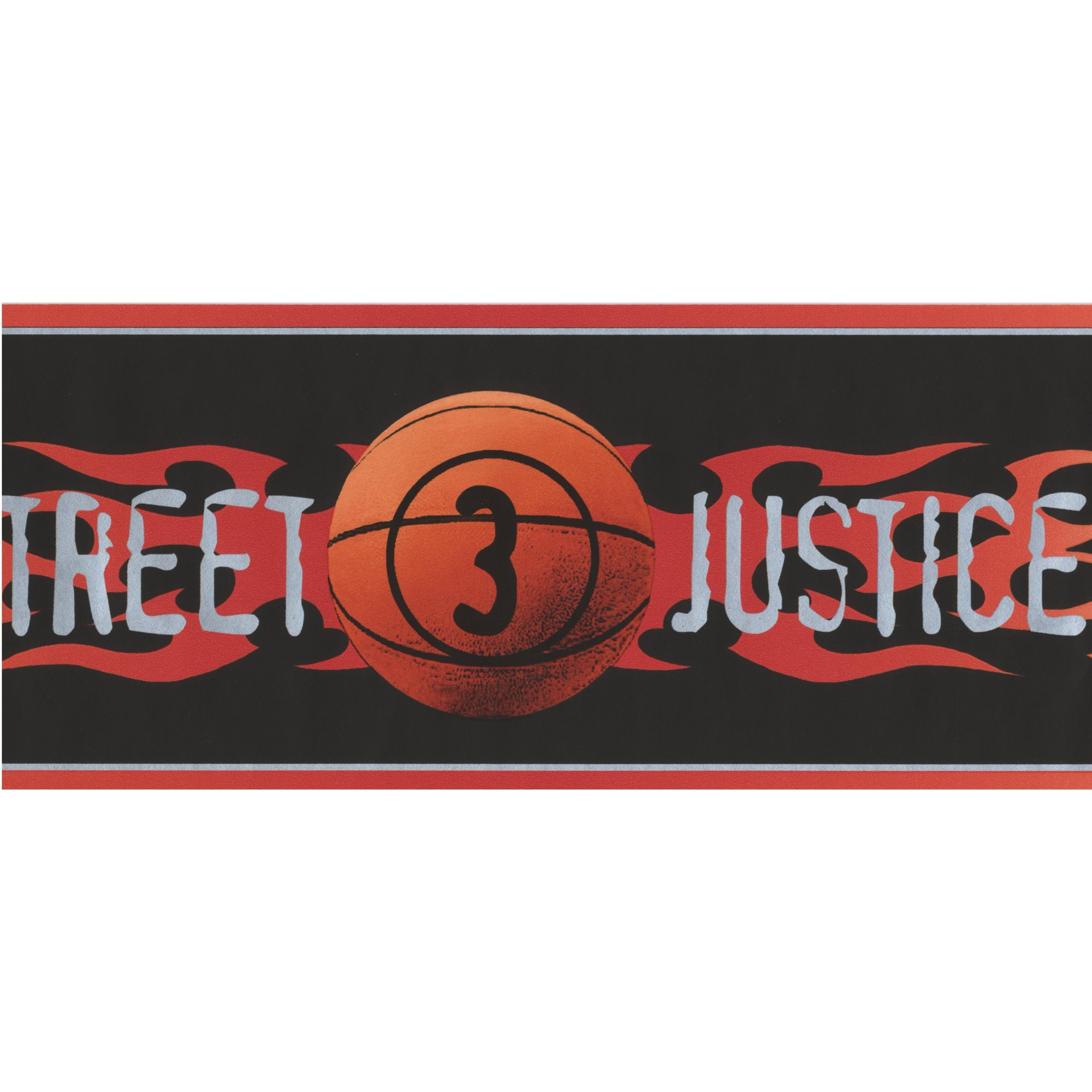 Street Justice Basketball Flames Black Wallpaper Border For Teens Roll 15 X 5