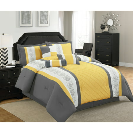Legacy Decor 7 Pc Grey, Yellow and White Striped Comforter Set with Embroidered Design, Queen Size ()