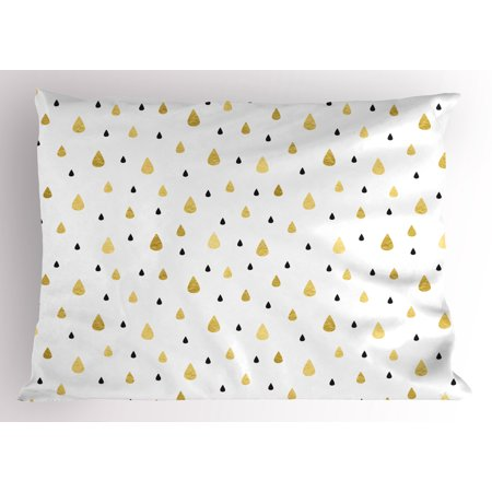 Autumn Pillow Sham Golden Rain Drops Pattern Downpour Moisture Condensed From Atmosphere Artsy Work Print, Decorative Standard Queen Size Printed Pillowcase, 30 X 20 Inches, White, by Ambesonne