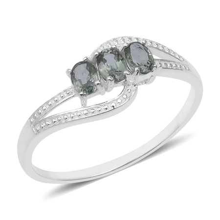 Trilogy Statement Ring 925 Sterling Silver Oval Green Sapphire Jewelry for Women Ct 0.6