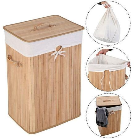 Zimtown Folding Single Rectangle Bamboo Hamper Laundry Basket Cloth Storage Bag Lid ()