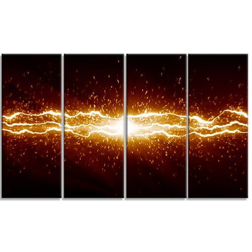 DESIGN ART Designart Lightning on Dark Sky -4 Panels Contemporary Canvas Art Print by Overstock