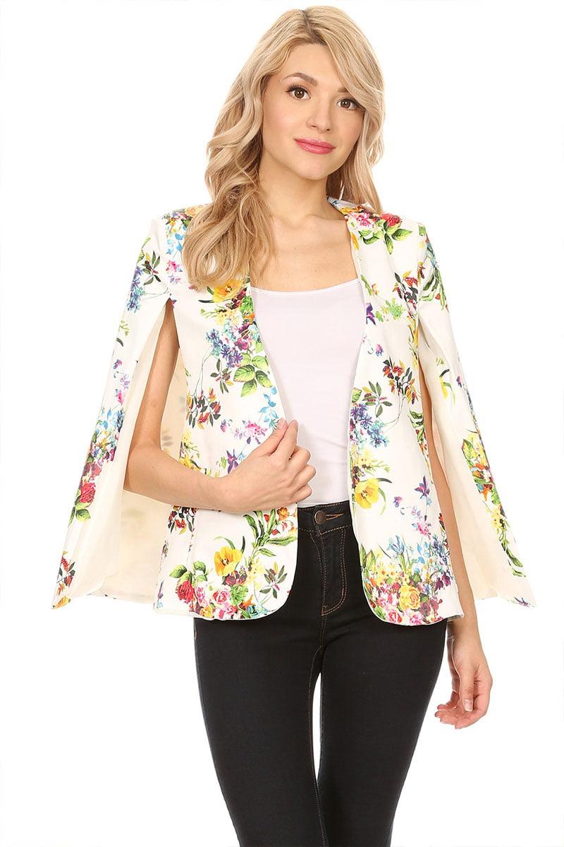 Women's Trendy Style Floral Cape Silhouette Jacket