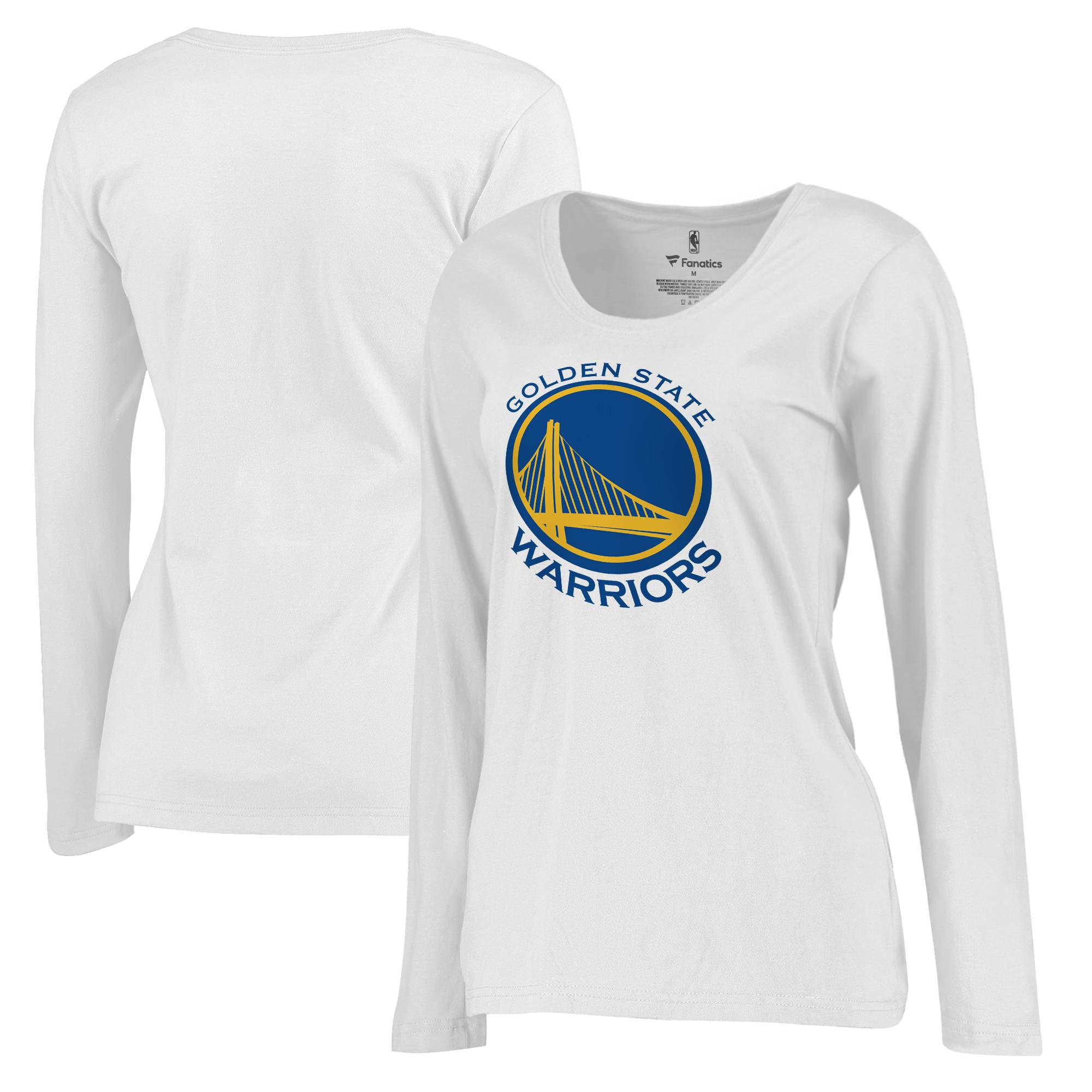 Golden State Warriors Fanatics Branded Women's Plus Sizes Team Primary Logo Long Sleeve T-Shirt - White