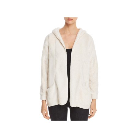 Cupio Womens French Terry Open Front Cardigan Sweater Ivory L