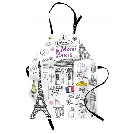 Doodle Apron Paris Culture in Doodle Style Drawing Eiffel Tower Beret Croissant Blue Cheese Taxi, Unisex Kitchen Bib Apron with Adjustable Neck for Cooking Baking Gardening, Multicolor, by
