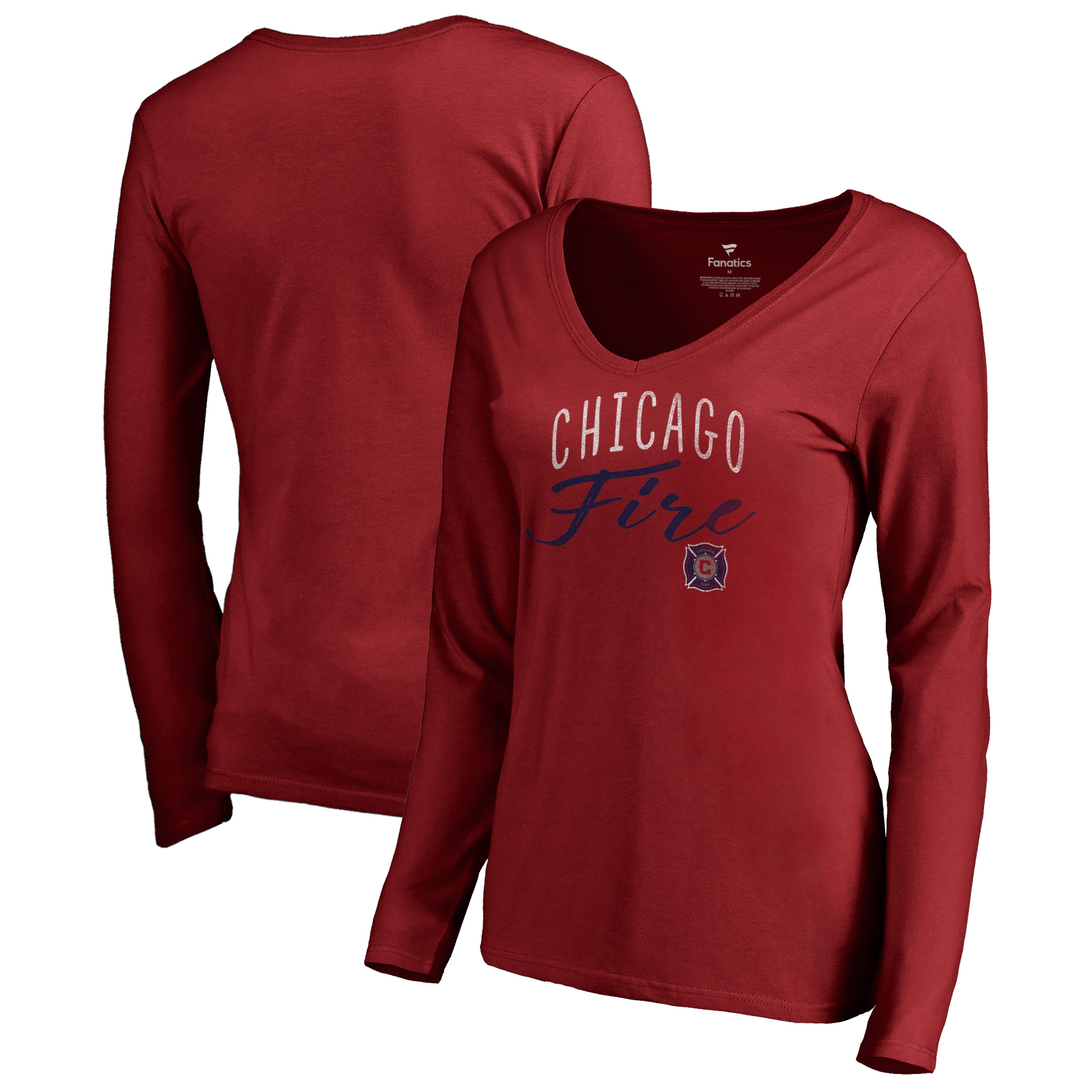 Chicago Fire Fanatics Branded Women's Graceful V-Neck Long Sleeve T-Shirt - Red