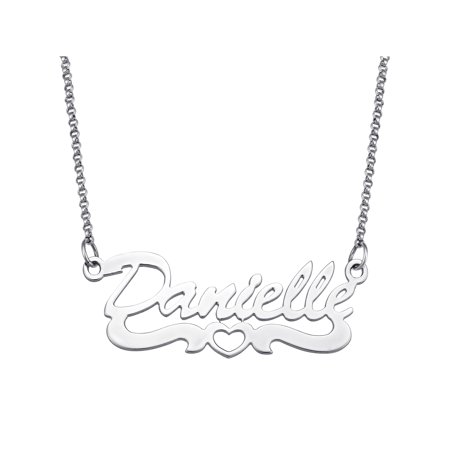 Sterling Silver Name Necklace - Personalized Open Heart Script Name Sterling Silver Necklace