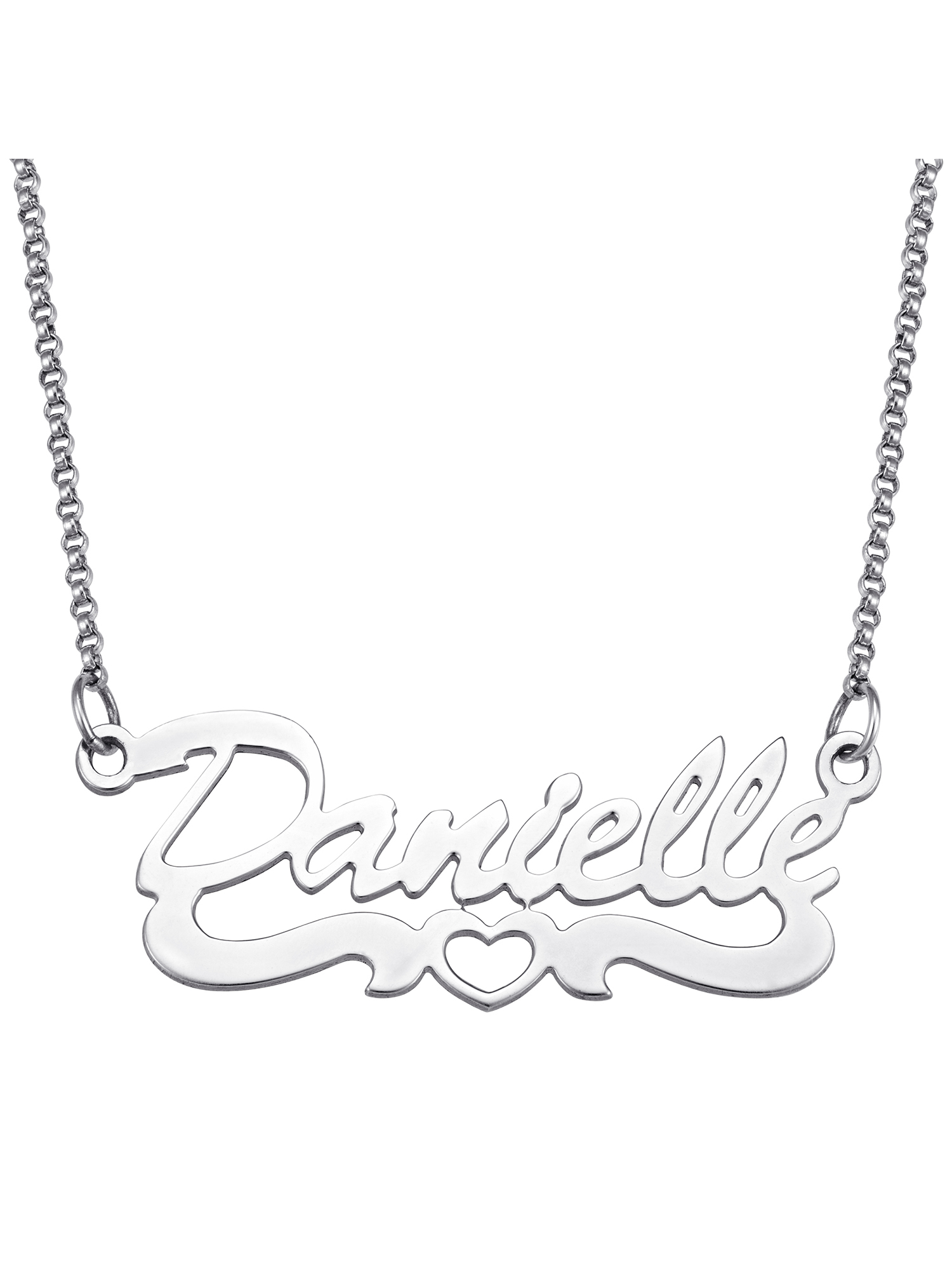 Personalized Open Heart Script Name Sterling Silver Necklace