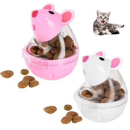 Cat Treat Ball - Petacc Funny Pet Food Leakage Ball Interactive Kitten Food Dispenser Creative IQ Treat Dispensing Toy for Cats, Mouse Shape, Easy to Clean, White and Pink, Set of 2