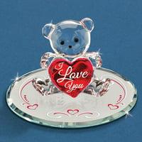 I Love You Bear Glass Figurine Keepsake Floral Glas Baron