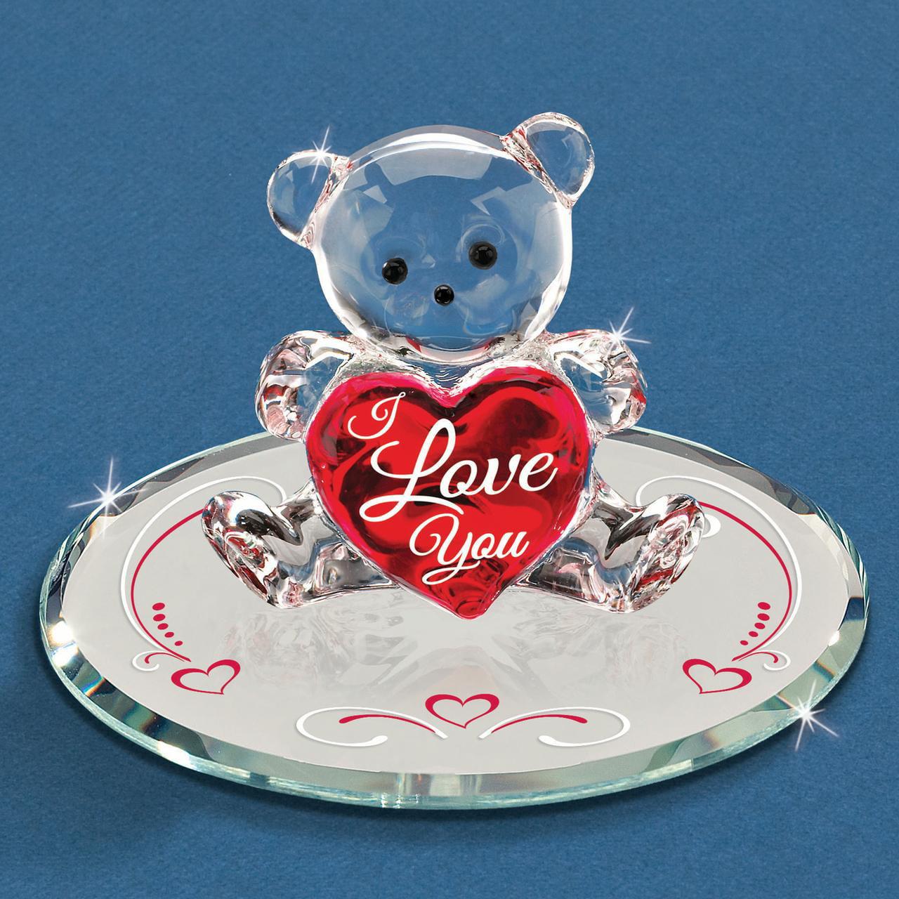 I Love You Bear Glass Figurine Keepsake Floral Glas Baron For Women