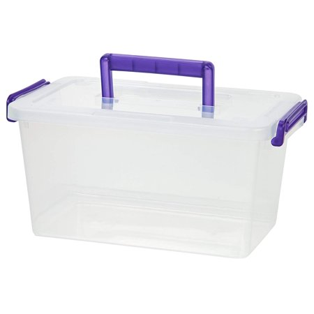 IRIS Medium Deep Modular Latching Box - Purple Handle, Clear, Perfect for small office supplies, craft and scrapbooking, small toys, and much more! By IRIS USA - Purple Iris Tile Box