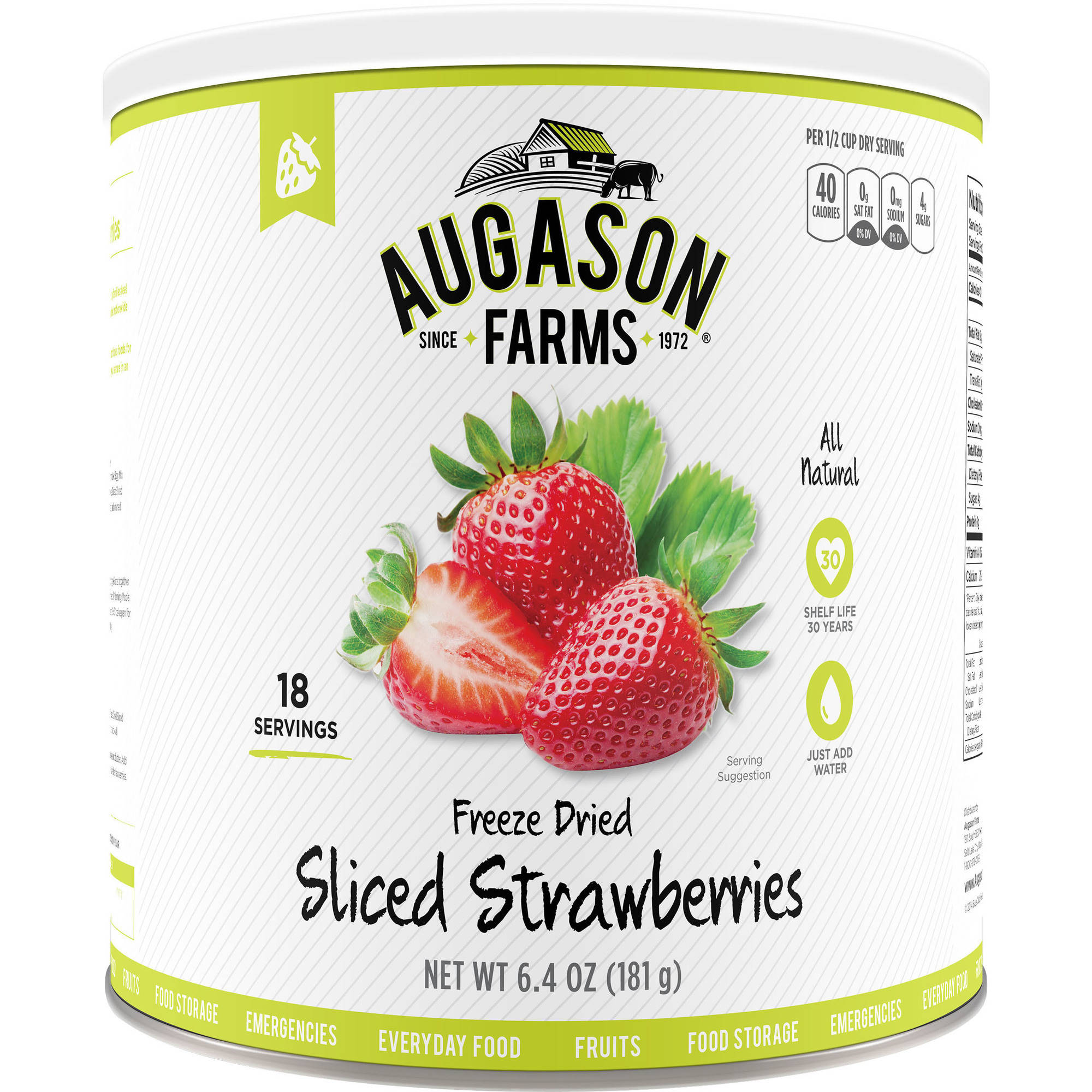 Augason Farms Emergency Food Freeze Dried Sliced Strawberries, 6.4 oz