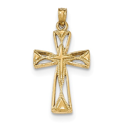 14K Yellow Gold Polished Cross With Triangle Tips Cut-out Pendant