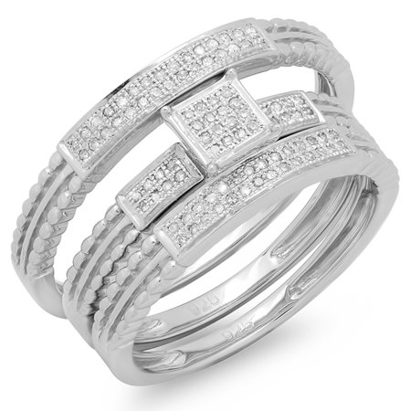 Cut Micro Pave Diamond (0.20 Carat (ctw) Round Cut Diamond Men and Women's Micro Pave Engagement Ring Trio Bridal Set 1/5 CT )