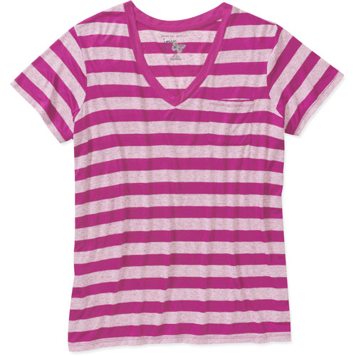 Just My Size Women's Plus-Size Striped V-Neck Pocket Tee