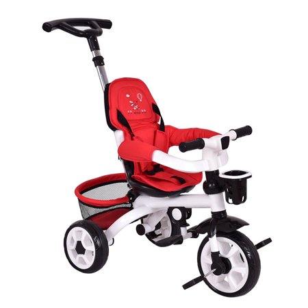 Gymax Red Kids Baby Stroller Tricycle 4-In-1 Detachable Learning Toy Bike w/ Canopy Basket - image 5 of 8