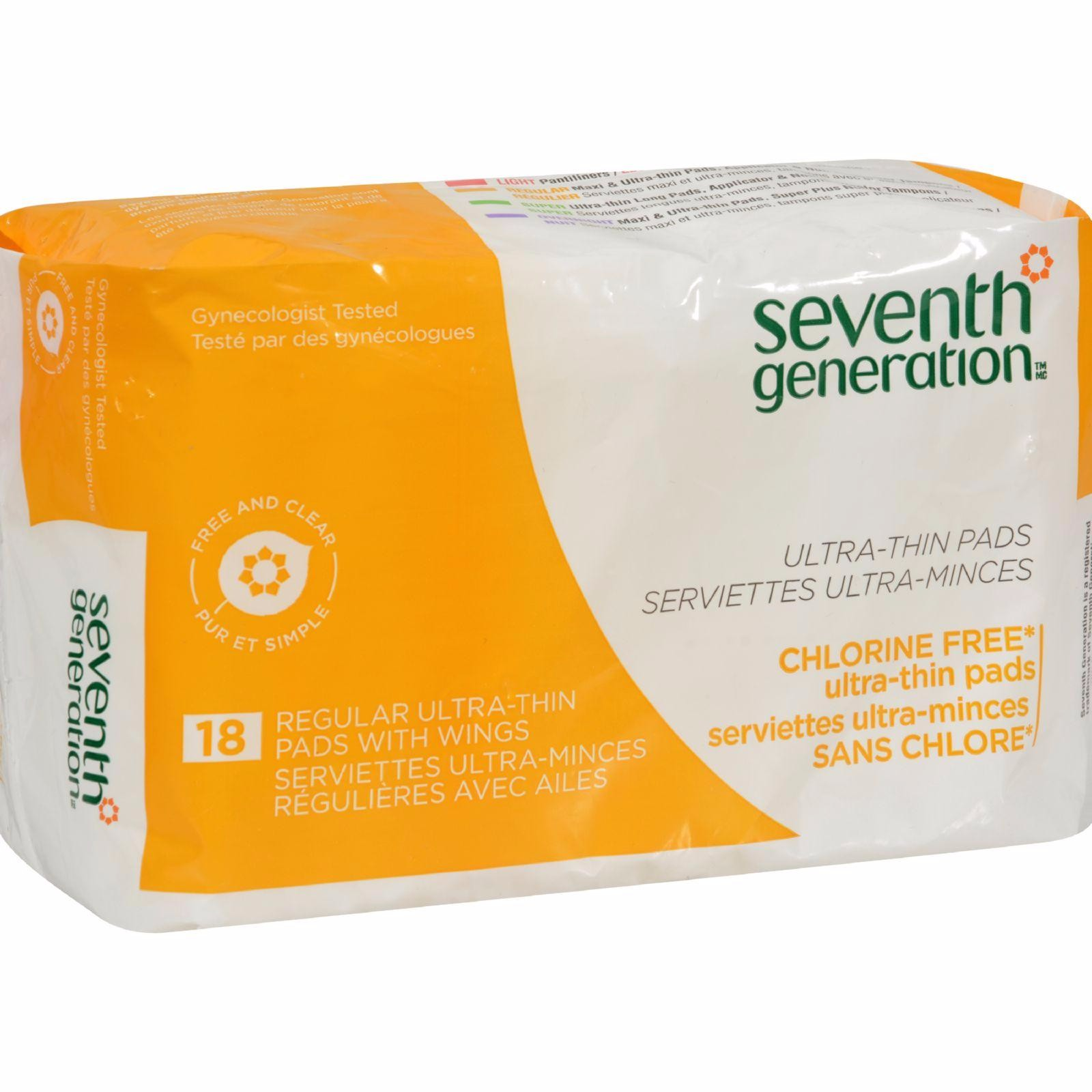 Seventh Generation Chlorine Free Ultra-thin Pads Regular With Wings - 18 Pads - Pack of 12