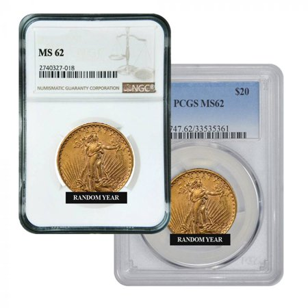 $20 MS-62 St. Gaudens Double Eagle Gold Coin (NGC or PCGS) - Random Year