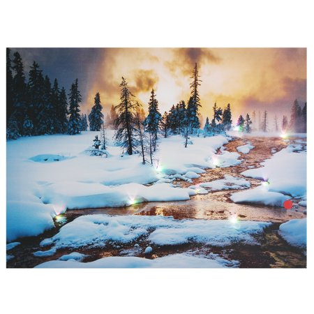 15'' LED Lighted Light-up canvasprint Snow Cabin Canvas Art Picture Print Home Wall Decor
