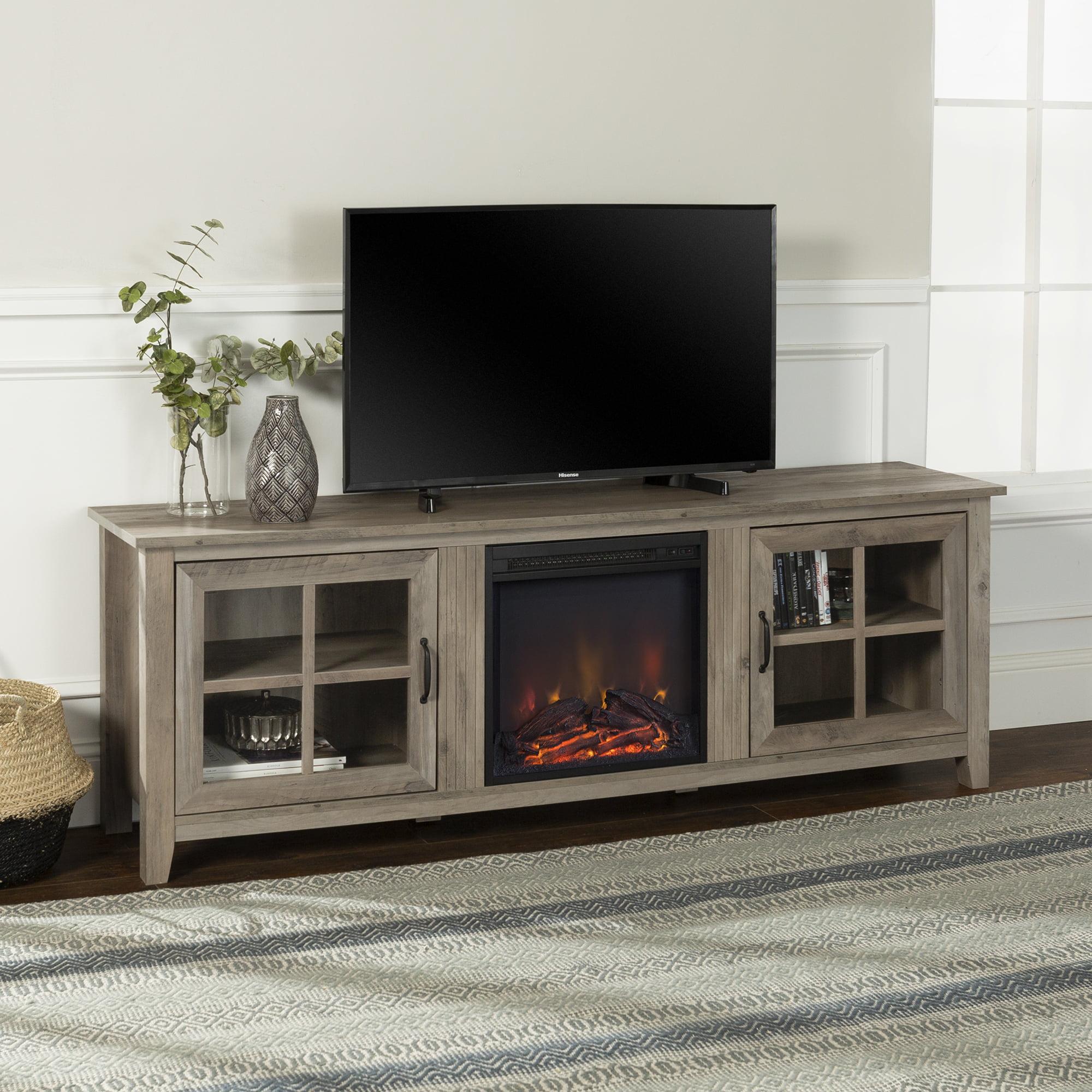 Manor Park Farmhouse Fireplace Tv Stand For Tvs Up To 80 Grey Wash Walmart Com Walmart Com