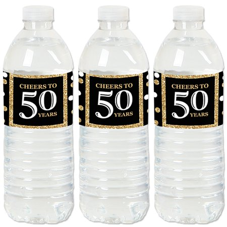 Adult 50th Birthday - Gold - Birthday Party Water Bottle Sticker Labels - Set of 20](50th Birthday Party Themes For Her)