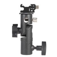 "E Type Universal Metal Flash Hot Shoe Speedlite Umbrella Holder Light Stand Bracket with 1/4"" to 3/8"" Screw Mount Swivel Adapter"