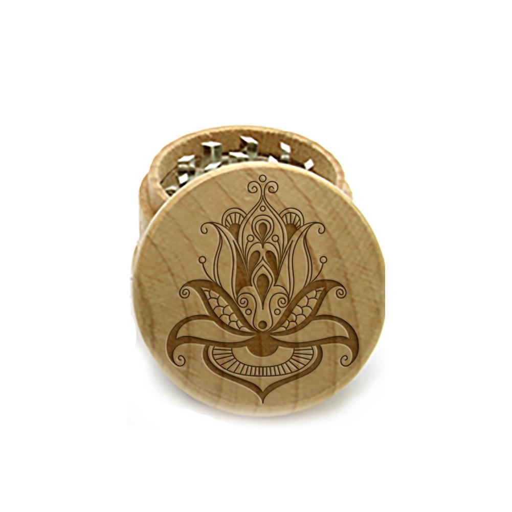 Wood Laser Engraved Herb Grinder, Custom Herb Grinder with a FREE Glass Jar,